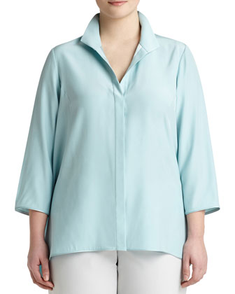 Breslin 3/4-Sleeve Silk Blouse, Women's