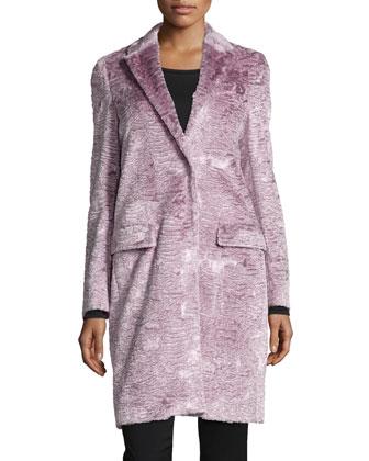 Long Faux-Fur Coat, Blush Pink
