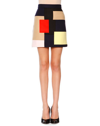 Long-Sleeve Ribbed Turtleneck Pullover & Colorblock Patchwork Skirt