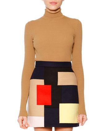Long-Sleeve Ribbed Turtleneck Pullover & Colorblock Patchwork Skirt