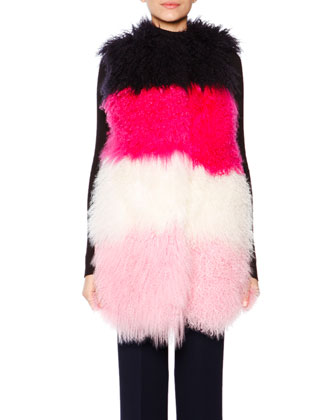 Colorblock Shearling Fur Vest