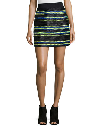 Funnel-Neck Wool Pullover & Couture Stripes Mini Skirt
