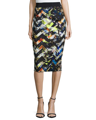 Zigzag Midi Pencil Skirt