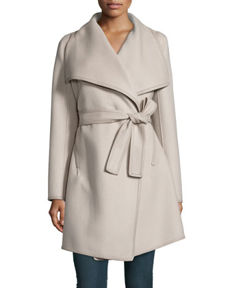 Harper Belted Wrap Coat W/ Leather Trim