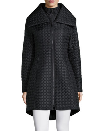 Gwen Dot Quilted High-Low Coat