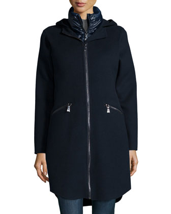 Parker Zip-Front Coat W/ Puffer Vest