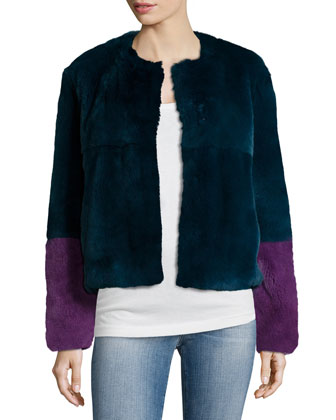 2 Tara Colorblock Rabbit Fur Coat