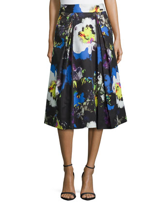 Lana Midnight Floral Pleated Skirt