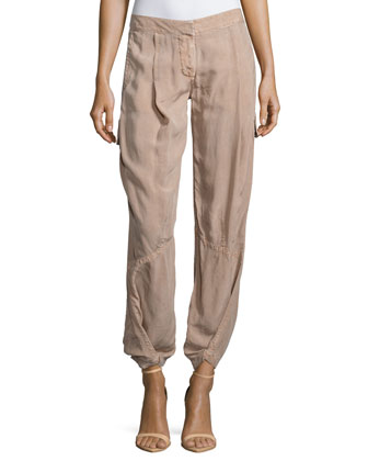 Pleated-Front Jogger Pants, Rose Quartz