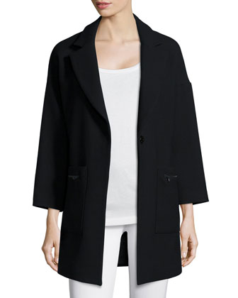 Nikki Single-Button Wool-Blend Coat, Black