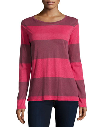 Cotton/Cashmere Long-Sleeve Striped Top