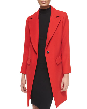Claudia Wool Snap-Front Coat & Sleeveless Turtleneck Sheath Dress