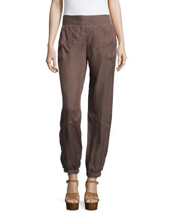 Cupro-Blend Parachute Pants