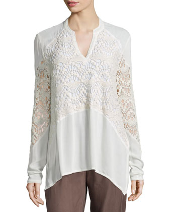 Nia Crochet-Inset Top, Women's