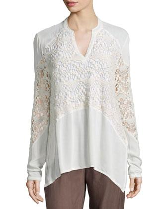 Veranda Combo Draped Jacket, Nia Crochet-Inset Top & Cupro-Blend Parachute ...