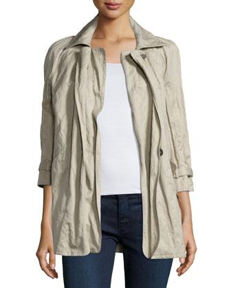 Three-Quarter Sleeve Crinkle Jacket, Twine