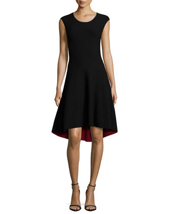 Reversible Fit-and-Flare Double-Face Dress, Black/Red
