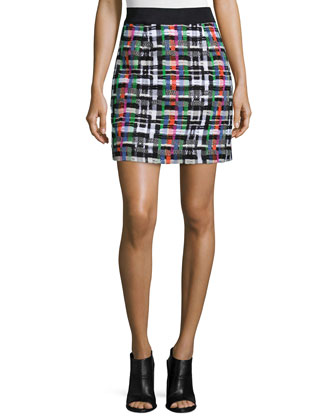 Couture Tweed Zip-Back Skirt