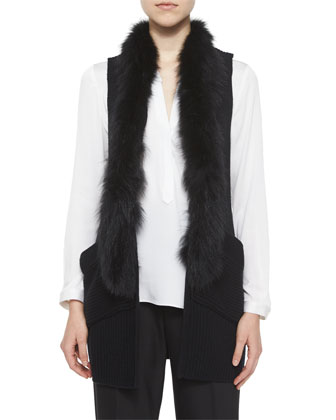 Fox-Fur-Trim Vest