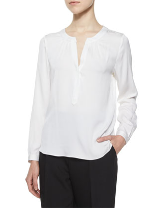 Tessa Long-Sleeve Silk Blouse, Ivory