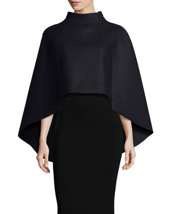 Sculptural Wool-Blend Cape & Structured Fitted Skirt