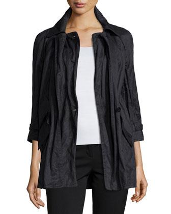 Three-Quarter Sleeve Crinkle Jacket, Onyx