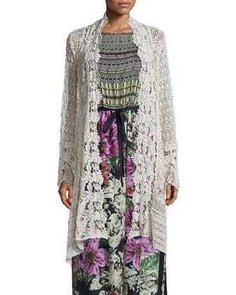 Johnny Was Flowy Drama Crochet Jacket & Sleeveless Mode Mix Maxi Dress, ...