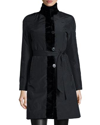 Reversible Mink Fur-Trim Coat