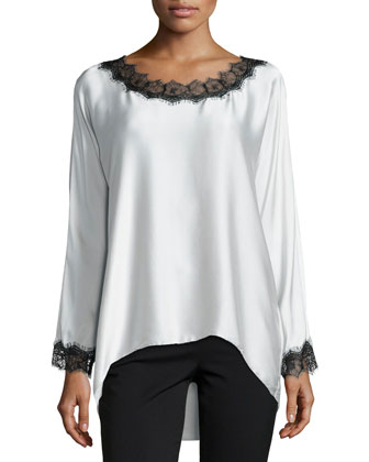 Long-Sleeve Silk Tunic W/ Lace Trim, Petite