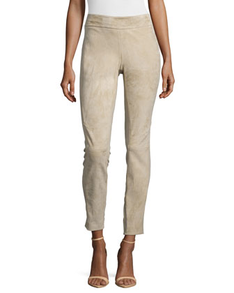 Suede Combo Riding Pants, Burlap