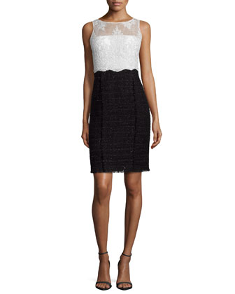 Lace & Tweed Combo Sheath Dress
