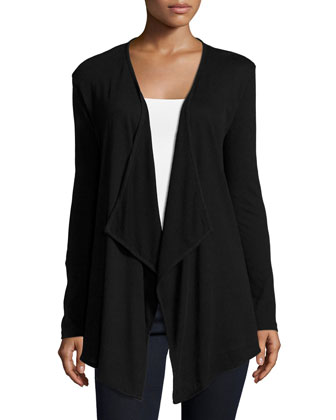 Cotton/Cashmere Long-Sleeve Open Cardigan