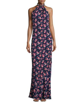 Iris Floral-Print Gown, Nightshade