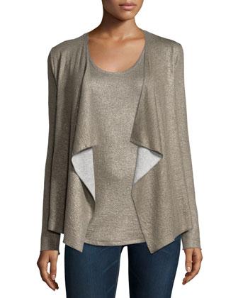 Cotton/Cashmere Double-Face Metallic Cardigan