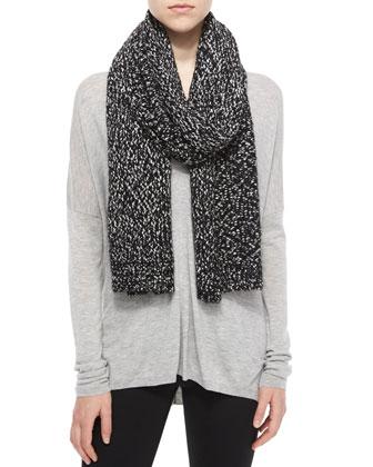 Speckled Cotton-Blend Knit Scarf