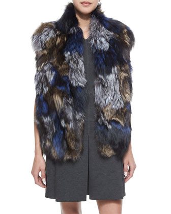 Patchwork Fox Fur Vest & Pleated V-Neck Knit Dress