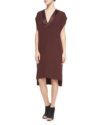 Satin-Trim V-Neck Dress