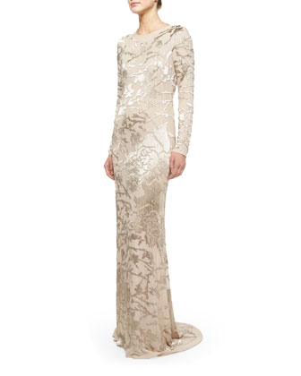 Long-Sleeve Jungle Blossom Embellished Gown, Nude/Burlap