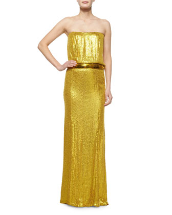 Strapless Sequin Gown, Yellow