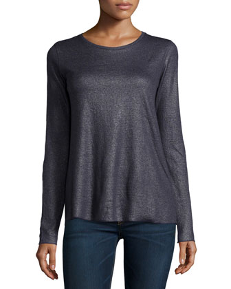 Cotton/Cashmere Double-Face Long Sleeve Metallic Crewneck Top