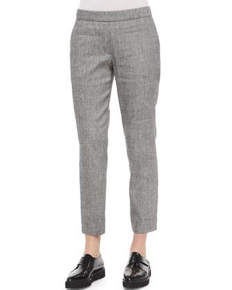 Karinalee Preen V-Back Long-Sleeve Top & Thaniel Slim Cropped Chambray Pants