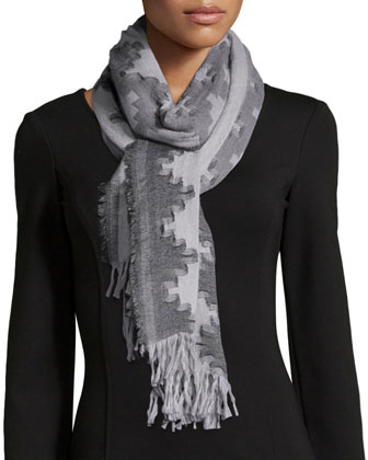 Wool Interval Jacquard Scarf, Mussel