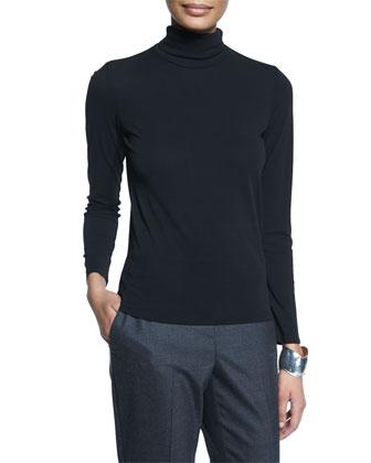 Scrunch-Neck Long-Sleeve Top, Black, Petite