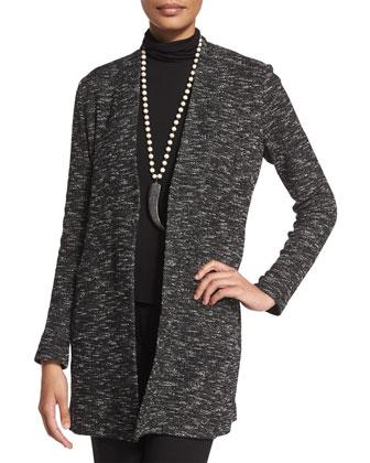 Long-Sleeve Micro-Tweed Jacket, Petite