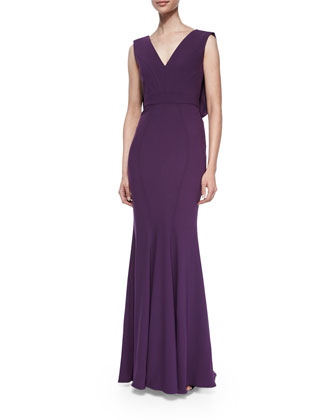 Santia Sleeveless Gown, Shadow Purple