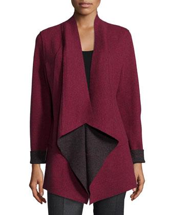 Merino Double-Knit Kimono Jacket & Long-Sleeve Jersey Cozy Tee, Petite