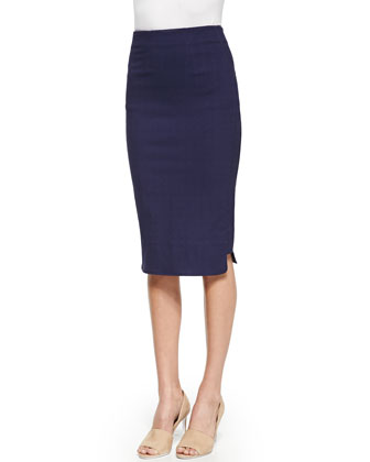 Pencil Skirt with Rounded Hem