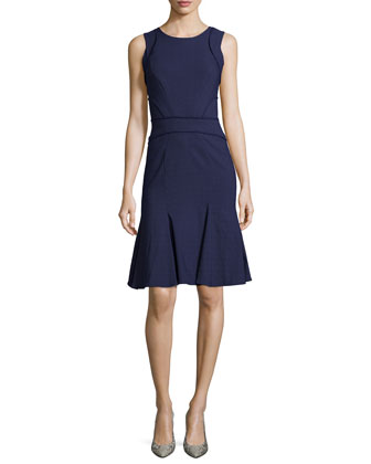 Kyra Flounce-Hem Dress, Navy
