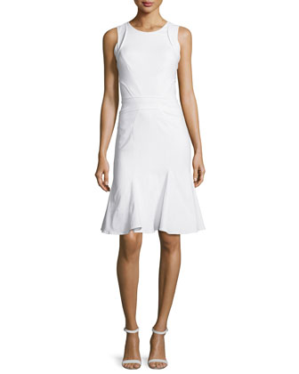 Kyra Flounce-Hem Dress, White