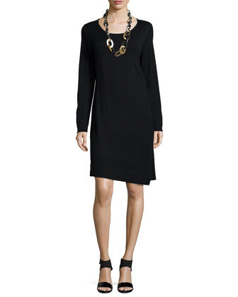 Long-Sleeve Merino Jersey Asymmetric Dress, Plus Size